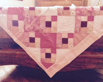 Hand-Stitched Baby Quilt - Pink Cloud