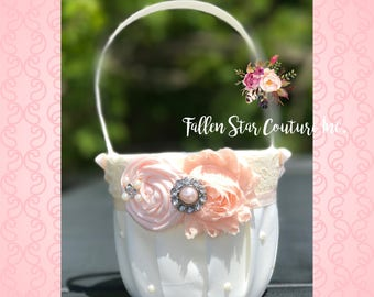 Blush Flower girl basket / rustic wedding basket / blush pink wedding / wedding basket