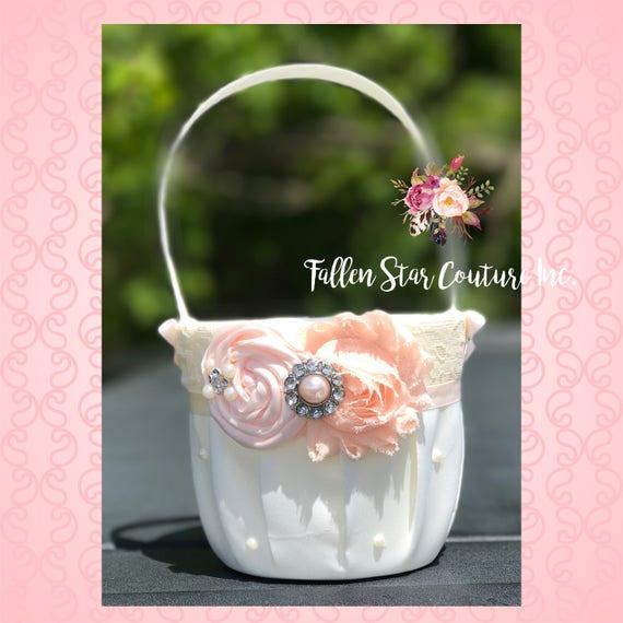 Flower Girl Basket Blush : Blush flower girl basket rustic wedding pink