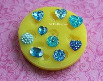 Cabochon Mold Silicone Gem Molds Druzy Heart Resin Crocodile Cabochon Swirl Pearl Cluster Polymer Clay