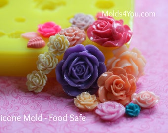 Silicone Rose Mold Resin Mold Fondant Sugar Wax Soap Baking Polymer Clay Flower Mold DIY Cabochon Mold Mum Roses Bow