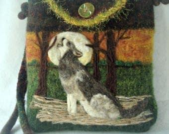 Felted Purse, Felted Handbag, Wolf Art, Needle Felt Wolf, Fiber Art, Wool Purse