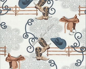 """Michael Miller """"Round Up"""" Fence Rail CX6752-Deni-D Western Fabric (Select Size)"""