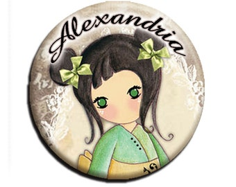 """Personalized Name Geisha Girl in Green Pocket Mirror, Magnet or Pinback Button - Party Favors 2.25""""- MR241"""
