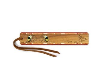 Frog Eyes Engraved with Color Wooden Bookmark with Tassel