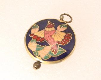 Vintage Cloissone Asian Bird Pendant Charm Fob Gold Enamel
