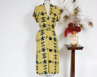 SALE - Vintage 1940s Dress - Striking Navy Blue and Yellow Carousel Novelty Print 40s Day Dress with Huge Collar, Buttons and Pleated Hip Dr