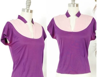 SALE - Vintage 1940s Blouse - Sporty Two Tone Purple Late 40s Jersey Knit Top with Short Collar