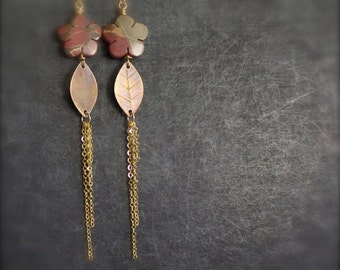 ON SALE Stone Flower Etched Brass Leaf Dangle Earrings Red Creek Jasper Brown Brass Leaves Long Metalwork Nature Boho Jewellery