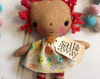 Sail away Raggedy Ann - sailing - Raggedy Annie - ragdoll - primitive doll - boats - Mother's Day - sailboat -