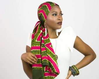 Pink and green scarf, Pink and green African head wrap, Headwraps for women, Pink green scarf, African headwrap, African print head wraps