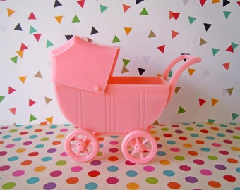 Vintage Mini Toy Pink Baby Buggy Stroller Mid Century Plastic Renwal Dollhouse Miniature