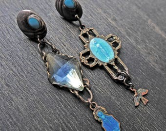 "Little blue asymmetrical earrings with religious medals ""A Glimpse of Sky"""