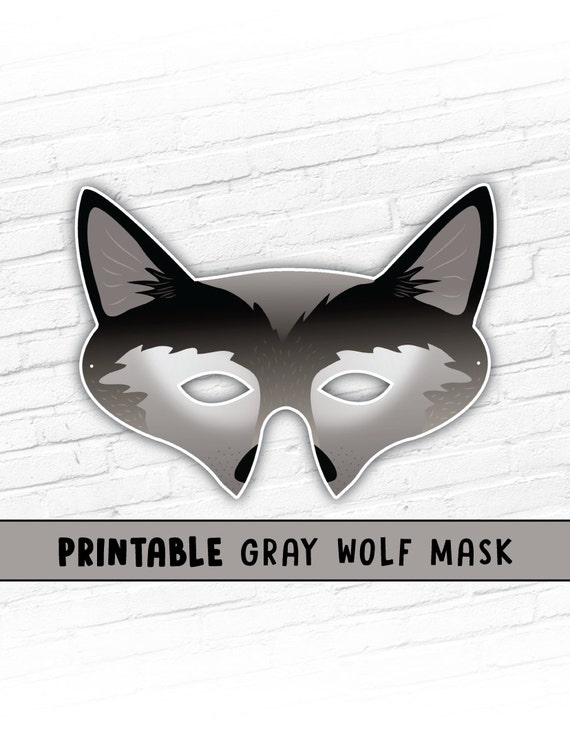 Gray Wolf Printable Mask | Party Mask | Instant Download | Halloween Prop