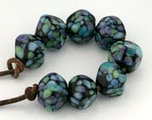Midnight Luau Crystal Handmade Glass Lampwork Beads (8 Count) by Pink Beach Studios - SRA (1443)