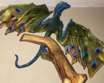 Huge Hand Painted Limited Edition Peacock colored Dragon w/glass eyes Game of Thrones LARP Cosplay