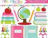 70% OFF SALE School Supplies Clipart Digital Graphics Set Books Globe Notebooks Pencils Apples Teachers Clip Art Graphics Instant Download
