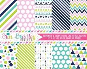 50% OFF SALE Commercial Use Digital Paper Pack Navy Blue Pink & Green Stripes Arrows Polka Dots Chevron Triangle Doodle Patterns