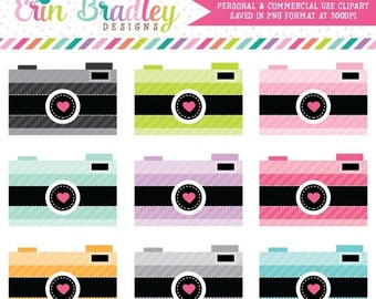50% OFF SALE Striped Cameras Clip Art Clipart Photography Graphics for Personal & Commercial Use