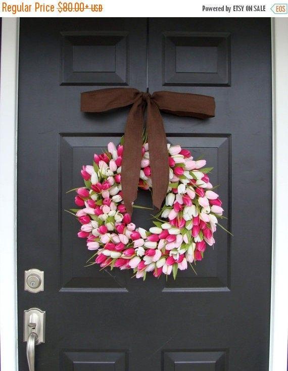 SPRING WREATH SALE Mini Tulip Wreath with Burlap Bow, Valentine's Day Wreath, Spring Wreath for Door, The Original Tulip Wreath