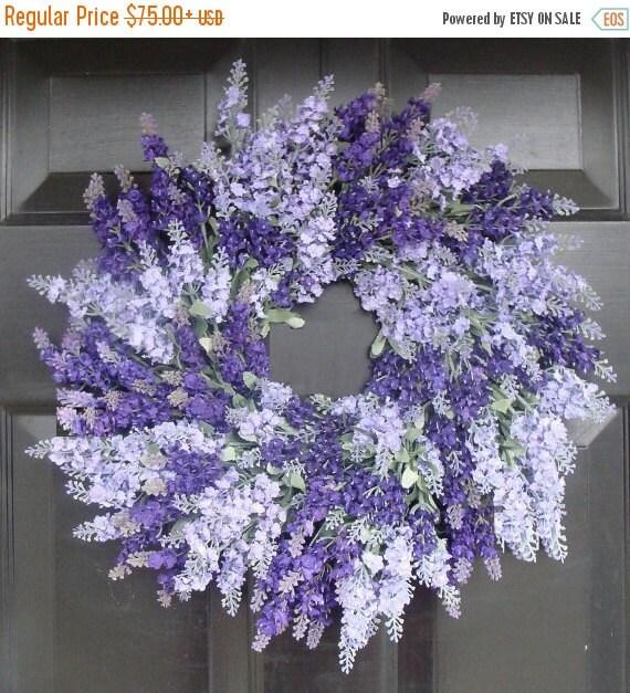 SPRING WREATH SALE Lavender Wreath for Door- Lavender Outdoor Summer Wreath- Bathroom Decor- Spring Wreath- 18 inch