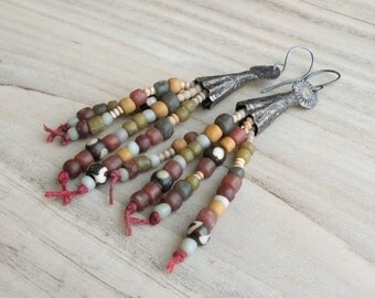 Rustic Beaded Tassel Earrings, Tribal Tassels, Earthy Colors, Handmade, Sterling Silver Ear Wires