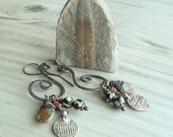 Nomadic Talisman Earrings, Spirals, Boho, Charm Cluster Earrings, Hammered Copper, with Sterling Ear Wires, Handmade,