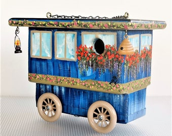 Navy Blue Gypsy Wagon , Handmade in Oregon , Hand Painted , Unique , Original Design for Outdoor Wild Birds with Clean Out