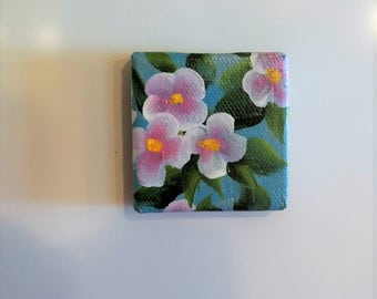 Hand Painted Pink Flower  Magnet , Decoration for Your Refrigerator , Kitchen or Office