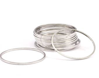 25mm Silver Rings - 24 Silver Brass Circle Connectors (25x0.8mm) D390