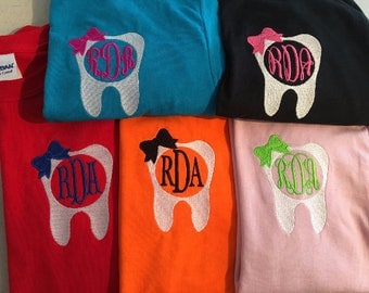 Monogrammed TOOTH T-shirt.  Short Sleeve Dental Monogram shirt.  RDA or RDH monogram Tshirt. Hygienist or Dental Assistant Shirt. G2000