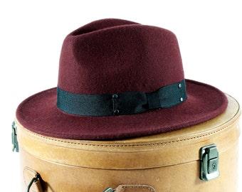 Felt Fedora Hat Women's Hat Spring Fashion Spring Accessories Men's Hat Wool Hat Boho Fashion Oxblood Burgundy Wine Red Fedora Hat