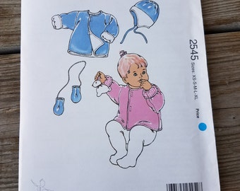 1996 Kwik Sew 2545 Baby's Double Layered Jacket, Hat, and Mittens, Uncut, Factory Folded Sewing Pattern Size Newborn-18 months