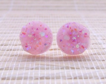 Pink Lavender Druzy Faux Studs Gold Plated 12mm