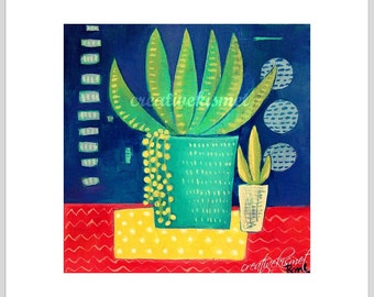 SALE - Potted Succulents - 8 X 8 Art Print