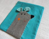Mouse on yellow and blue dots   zipper pouch