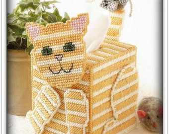 Kitten Tissue Topper Pattern - Plastic Canvas - Skill Level Easy - PDF 43441704