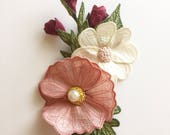 Three Spring Flower Brooches - Icelandic Poppy, Dogwood, and Rosebuds