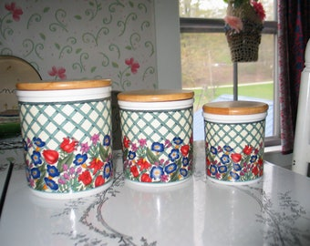 Dansk Nordic Garden Canister Set Gorgeous Bright Colored Flowers