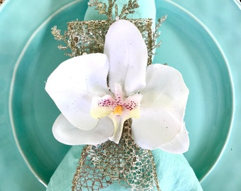 Winter White Orchid Napkin Rings - Wedding - Christmas - New Years - Easter - Faux Flowers