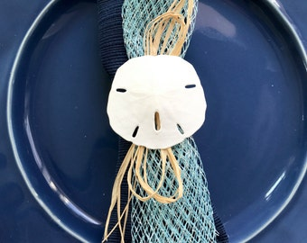Sand Dollar Napkin Ring with Baby Blue Net Ribbon-  Beach Wedding - Seashore - shells