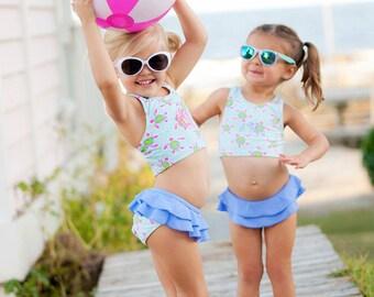 Girls swimsuit bathing suit monogrammed beach ruffled toddler swimwear tankini 2 piece Easter Spring break beach towel BeachHouseDreamsHome
