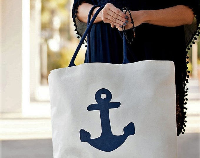 beach bag navy anchor tote vacation home host thank you gift beachlover destination wedding Outer Banks wedding Beach House Dreams Home OBX
