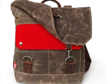 Waxed Canvas Backpack / Cardinal Red Recycled Wool & Oiled Leather