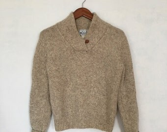 Vintage Woolrich Woman Oatmeal Heather Shawl Collar Pullover Sweater Leather Button sz. Small