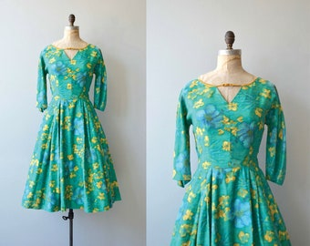 La Grenouillère dress | vintage 1950s dress | floral print 50s dress