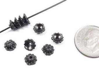 TierraCast Pewter Bead Caps-BLACK TIFFANY 5mm (10)