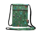 Ready to Ship> Retro Little Trees on Green Small Crossbody sling bag, Security neck wallet, Passport holder, Travel Wallet, Travel Organizer