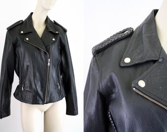 Frontier Leather Heavy Leather Lined Size Large Men's Size M and Women's Size L Black Vintage Coat