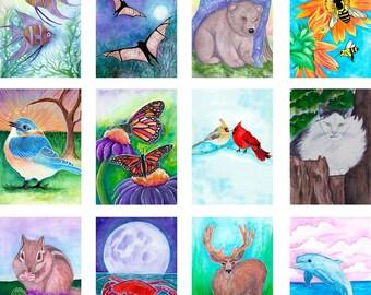 Oracle Deck Art - Safari Nursery - Higher Intuitions Oracle Deck - Raccoon Print - Seahorse Art - Your Choice Of Print - Deer Painting